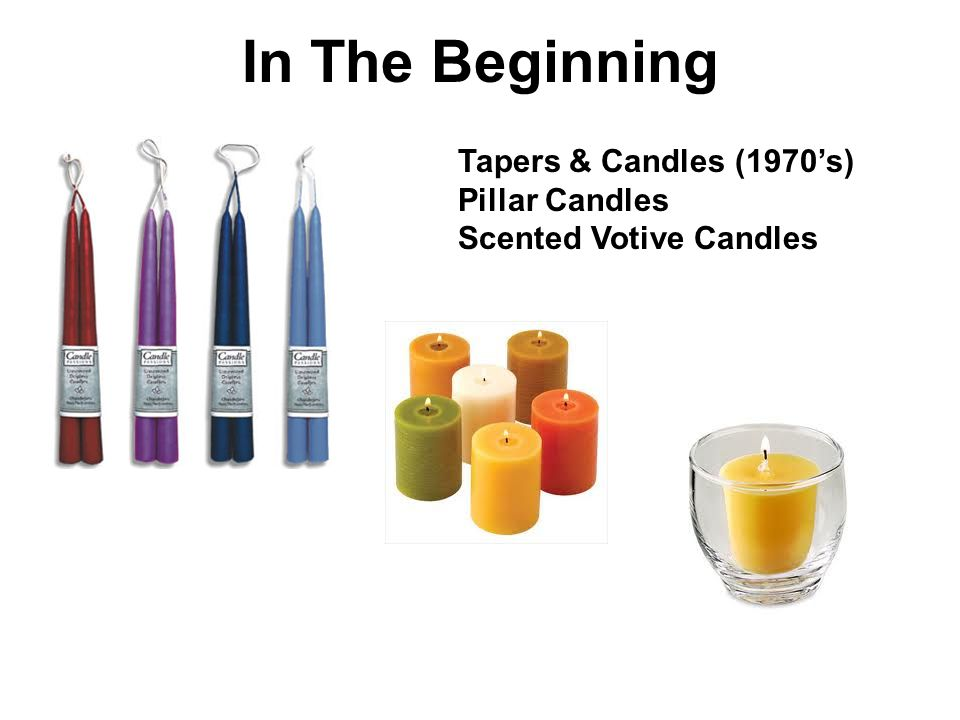 In The Beginning Tapers & Candles (1970's) Pillar Candles