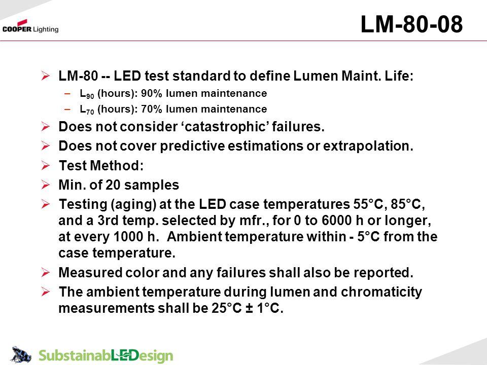 LM-80-08 LM-80 -- LED test standard to define Lumen Maint. Life: