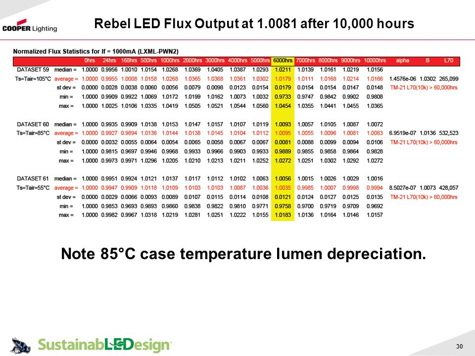 Rebel LED Flux Output at after 10,000 hours