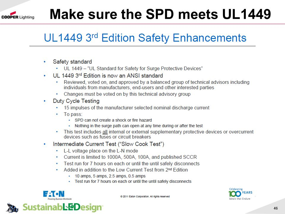 Make sure the SPD meets UL1449