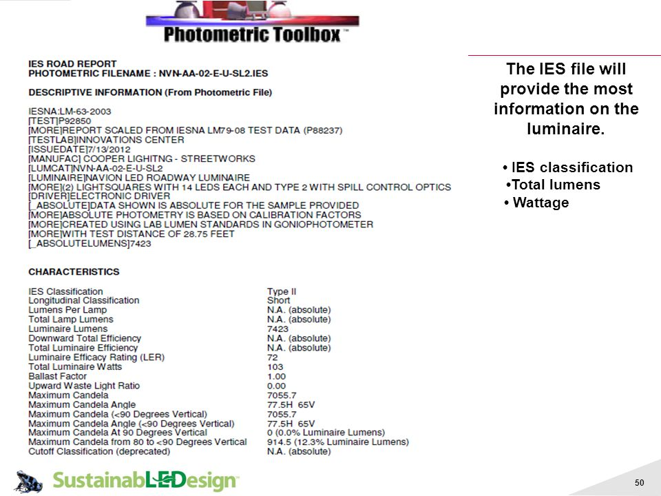 The IES file will provide the most information on the luminaire.