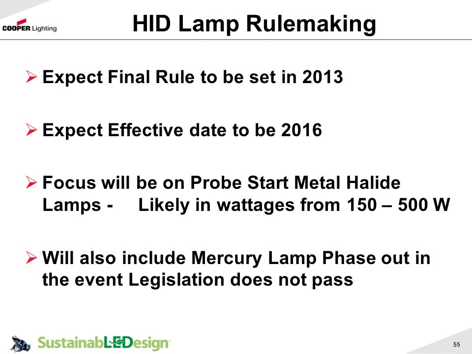HID Lamp Rulemaking Expect Final Rule to be set in 2013