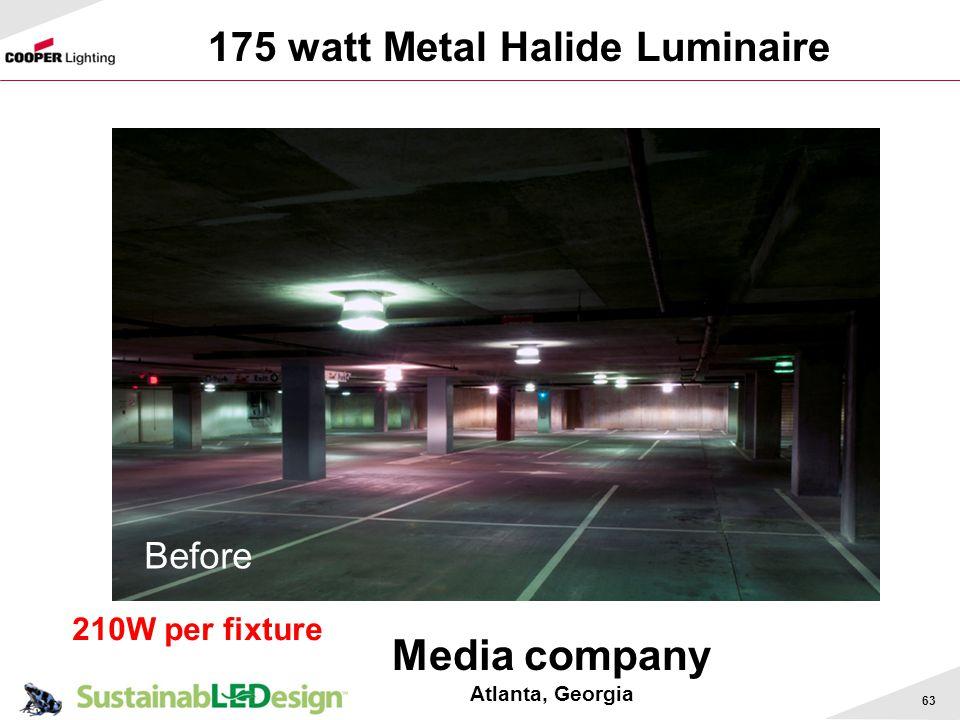 Media company 175 watt Metal Halide Luminaire Before 210W per fixture