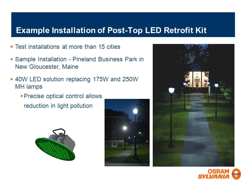 Example Installation of Post-Top LED Retrofit Kit