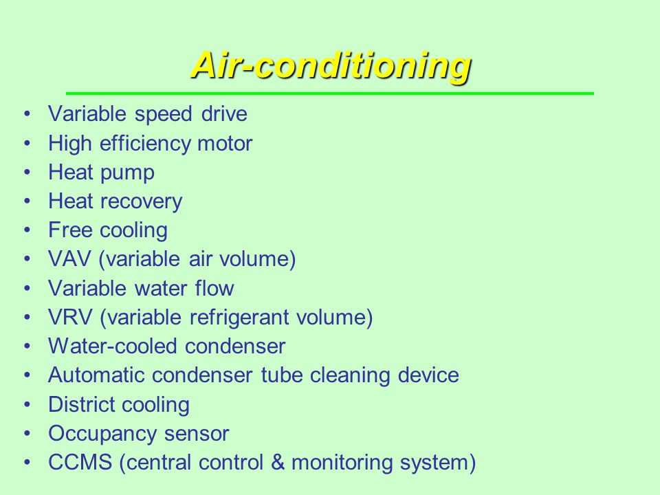 Air-conditioning Variable speed drive High efficiency motor Heat pump