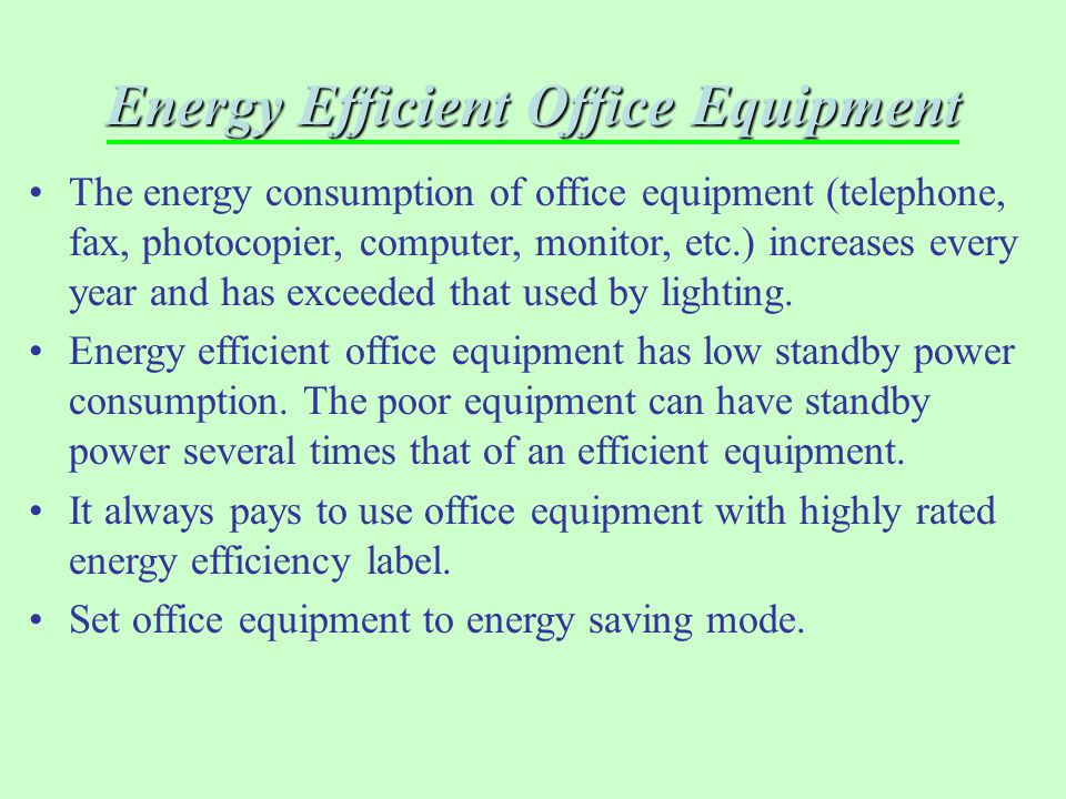 Energy Efficient Office Equipment