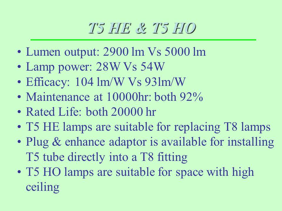 T5 HE & T5 HO Lumen output: 2900 lm Vs 5000 lm Lamp power: 28W Vs 54W