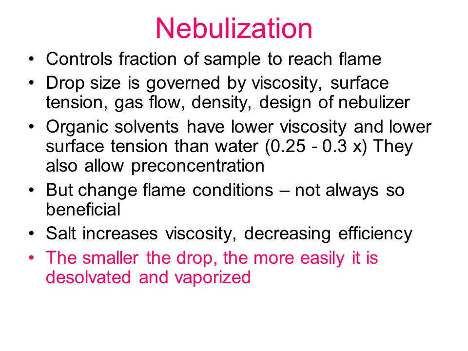 Nebulization Controls fraction of sample to reach flame