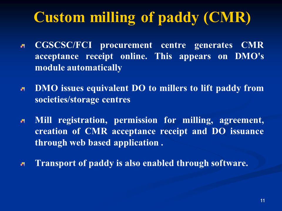 Custom milling of paddy (CMR)