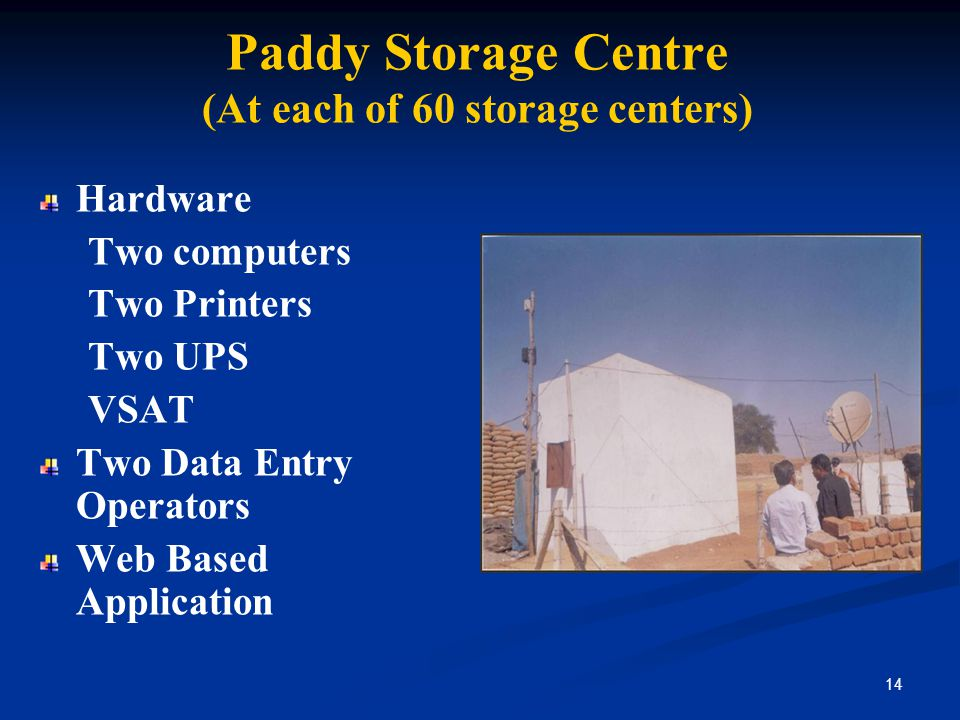 Paddy Storage Centre (At each of 60 storage centers)