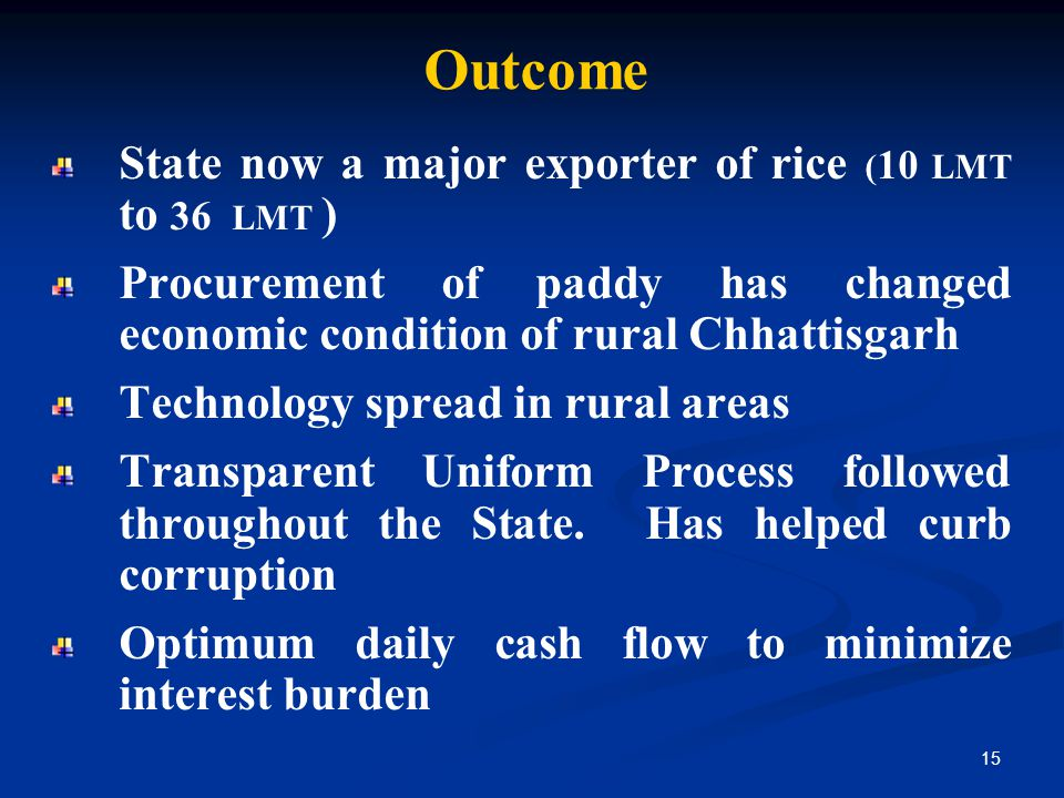 Outcome State now a major exporter of rice (10 LMT to 36 LMT )