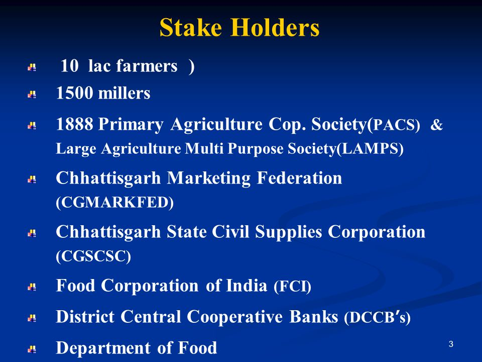 Stake Holders 10 lac farmers ) 1500 millers