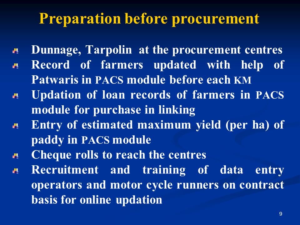 Preparation before procurement