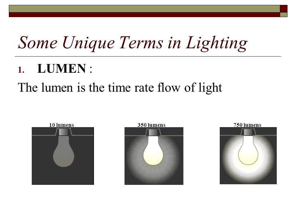 Some Unique Terms in Lighting