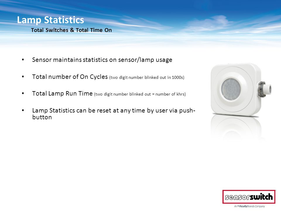 Lamp Statistics Total Switches & Total Time On