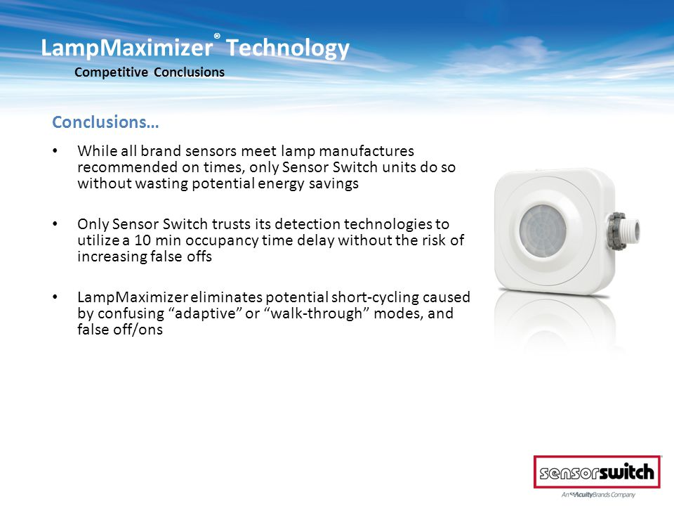 LampMaximizer® Technology Competitive Conclusions