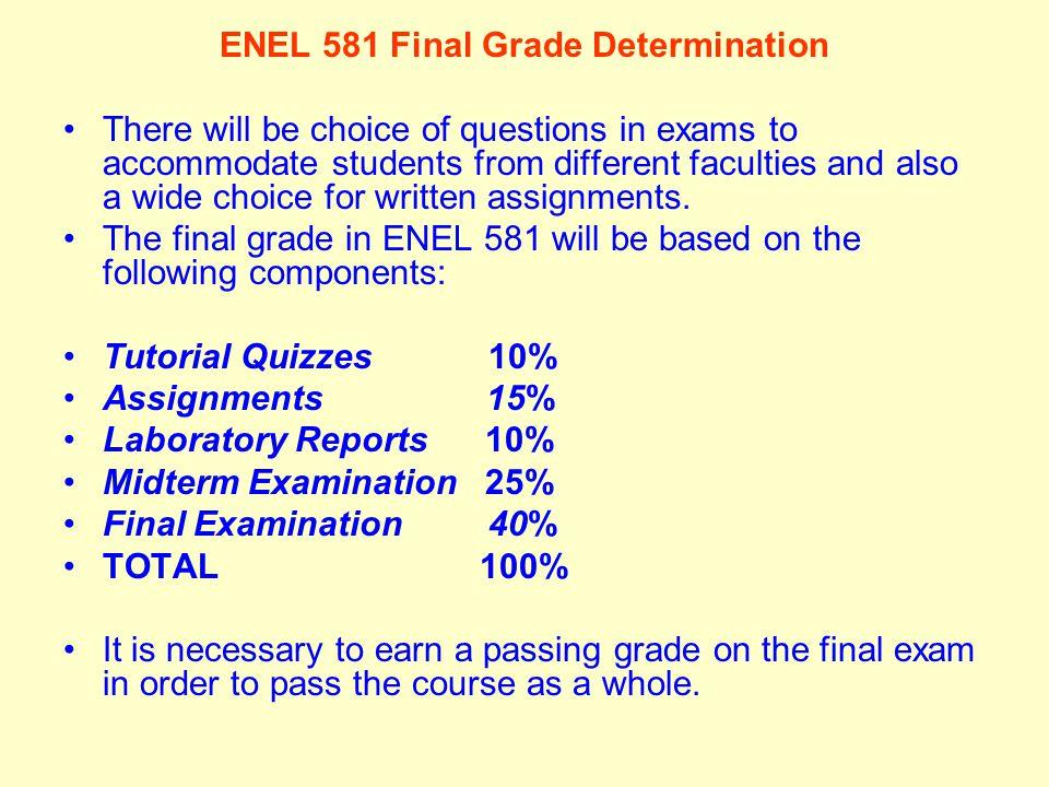 ENEL 581 Final Grade Determination