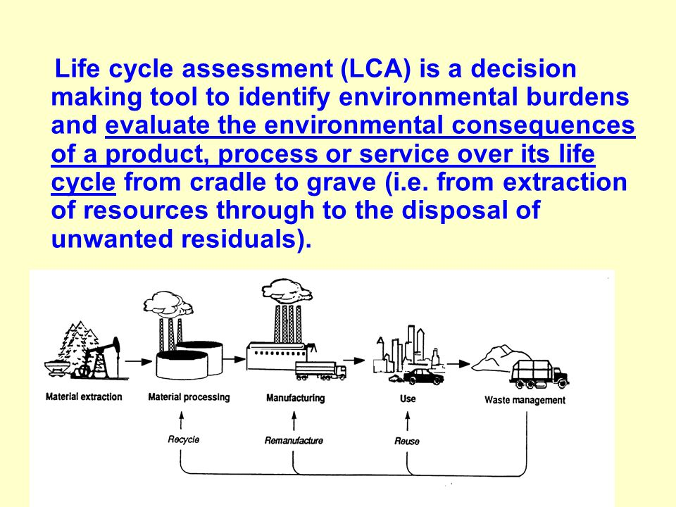 Life cycle assessment (LCA) is a decision making tool to identify environmental burdens and evaluate the environmental consequences of a product, process or service over its life cycle from cradle to grave (i.e.