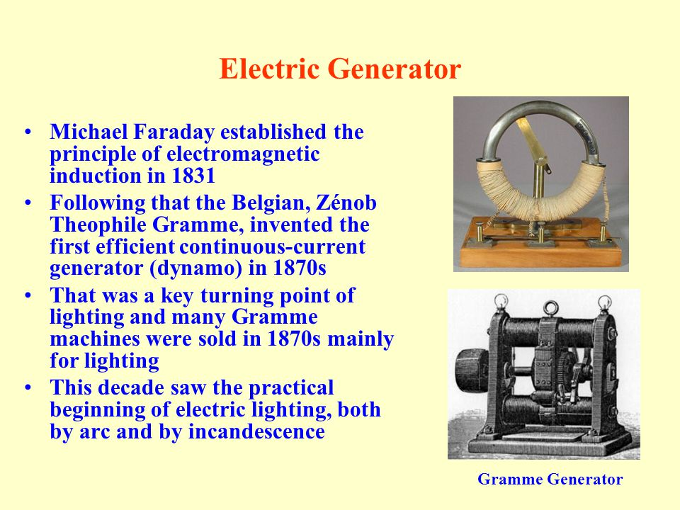 Electric Generator Michael Faraday established the principle of electromagnetic induction in 1831.