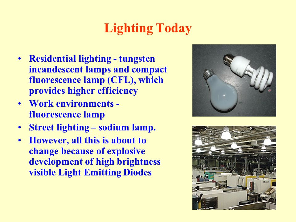 Lighting Today Residential lighting - tungsten incandescent lamps and compact fluorescence lamp (CFL), which provides higher efficiency.