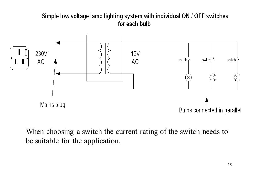 When choosing a switch the current rating of the switch needs to be suitable for the application.