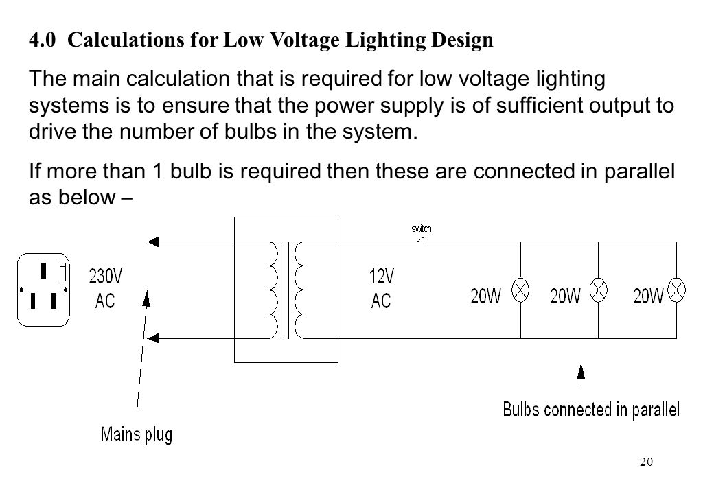4.0 Calculations for Low Voltage Lighting Design