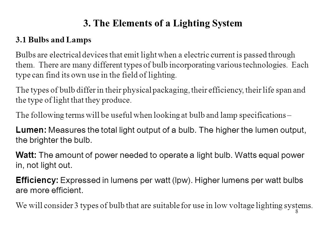 3. The Elements of a Lighting System