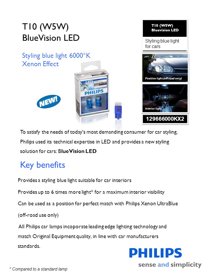 T10 (W5W) BlueVision LED Key benefits Styling blue light 6000°K
