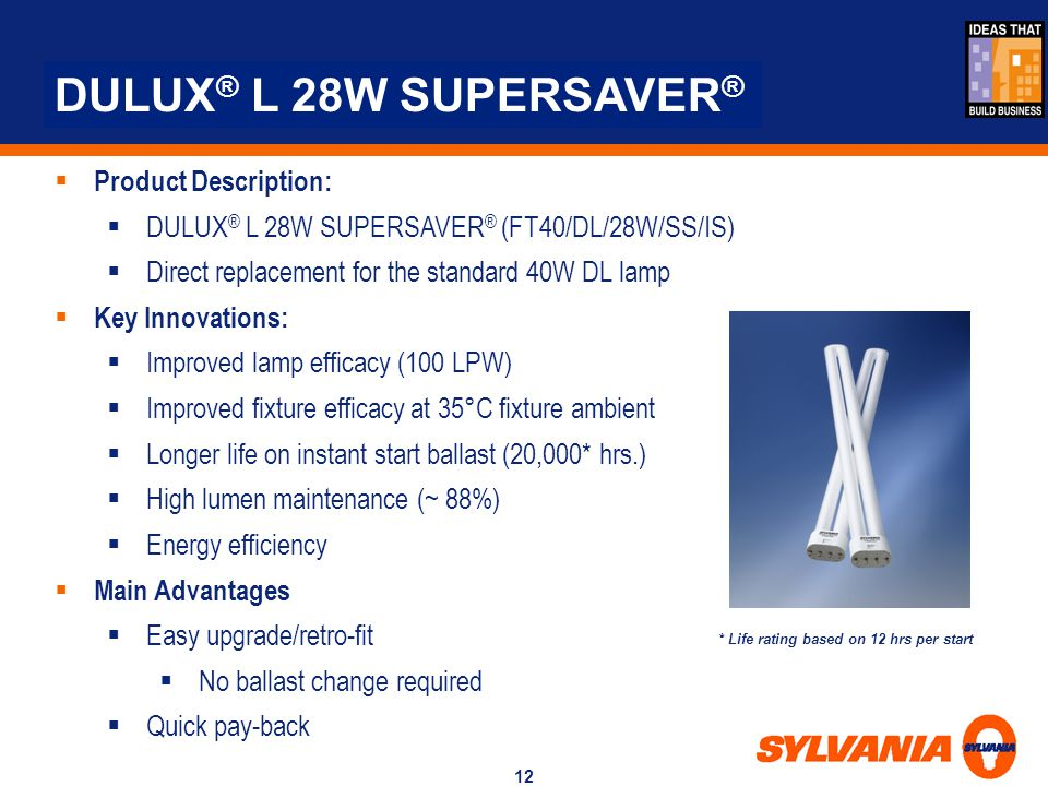 DULUX® L 28W SUPERSAVER® Product Description: