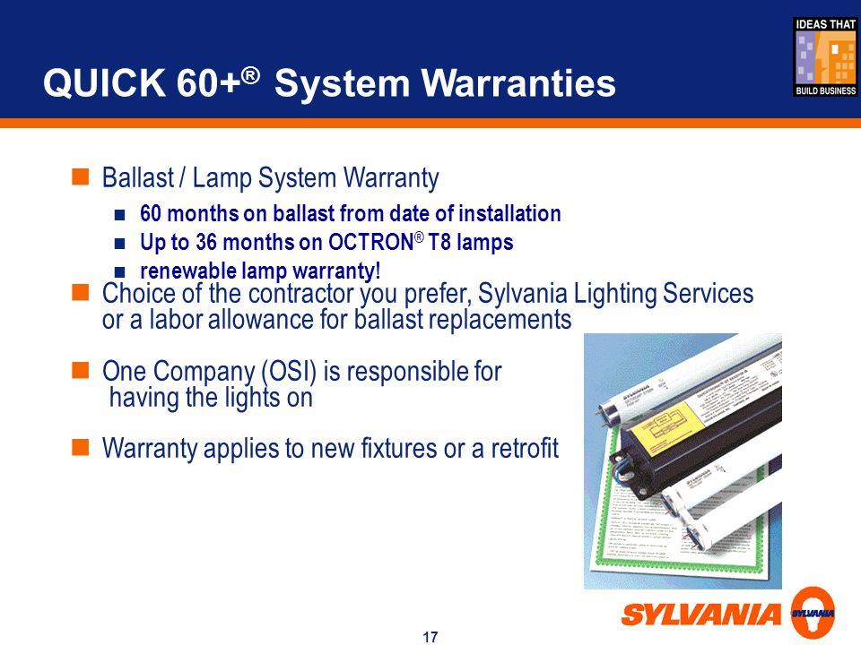 QUICK 60+® System Warranties