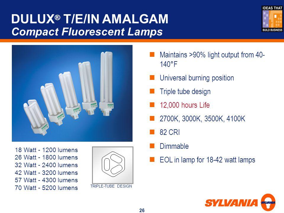 DULUX® T/E/IN AMALGAM Compact Fluorescent Lamps