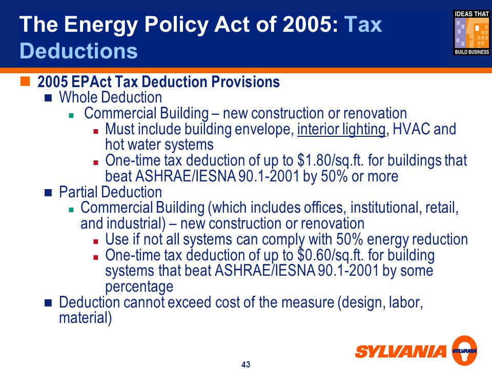 The Energy Policy Act of 2005: Tax Deductions
