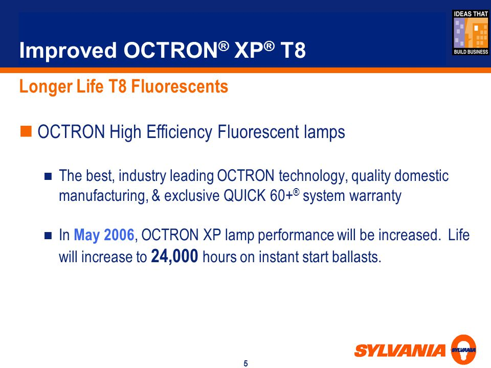 Improved OCTRON® XP® T8 Longer Life T8 Fluorescents