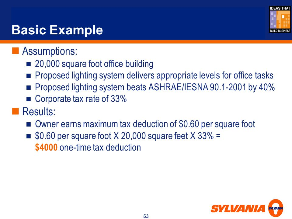 Basic Example Assumptions: Results: 20,000 square foot office building