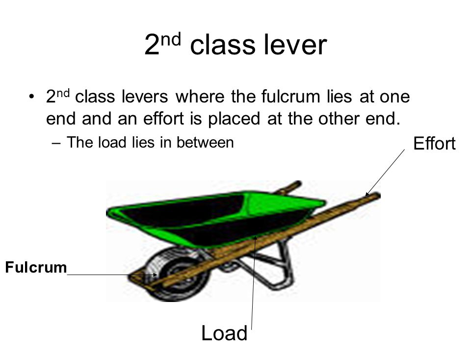 2nd class lever 2nd class levers where the fulcrum lies at one end and an effort is placed at the other end.