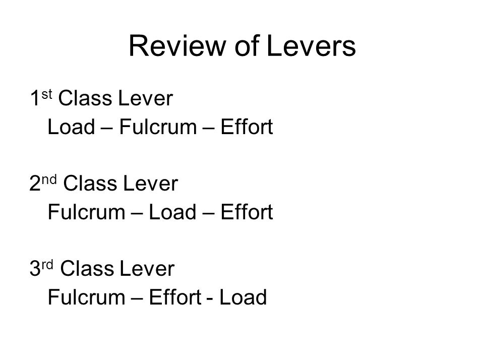 Review of Levers 1st Class Lever Load – Fulcrum – Effort
