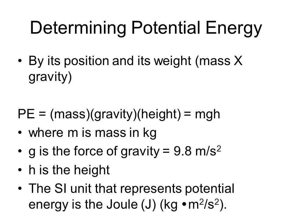 Determining Potential Energy