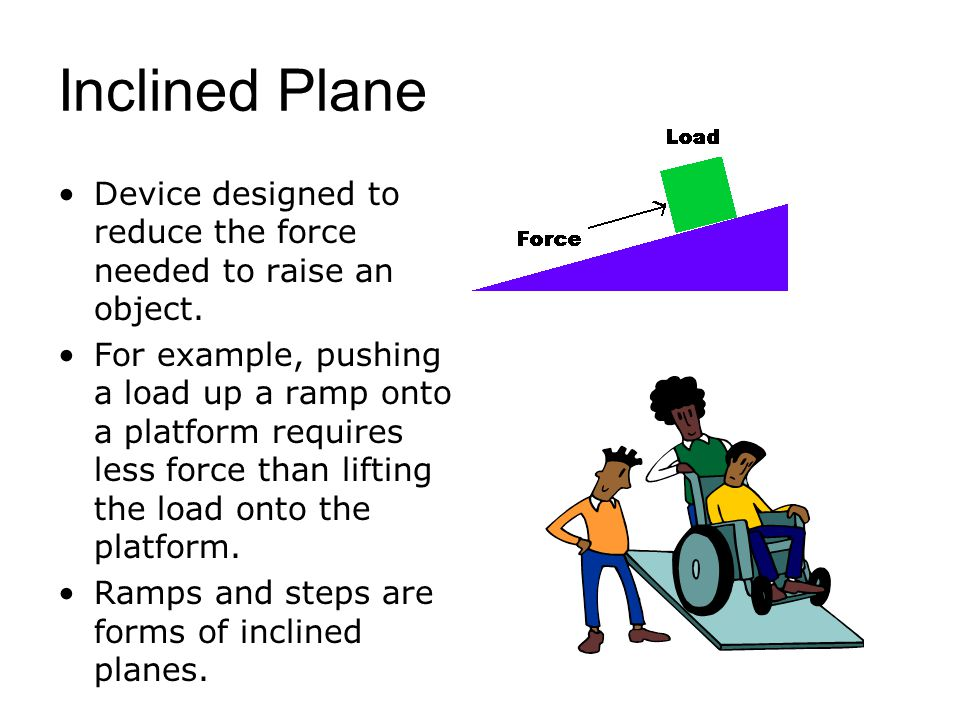 Inclined Plane Device designed to reduce the force needed to raise an object.