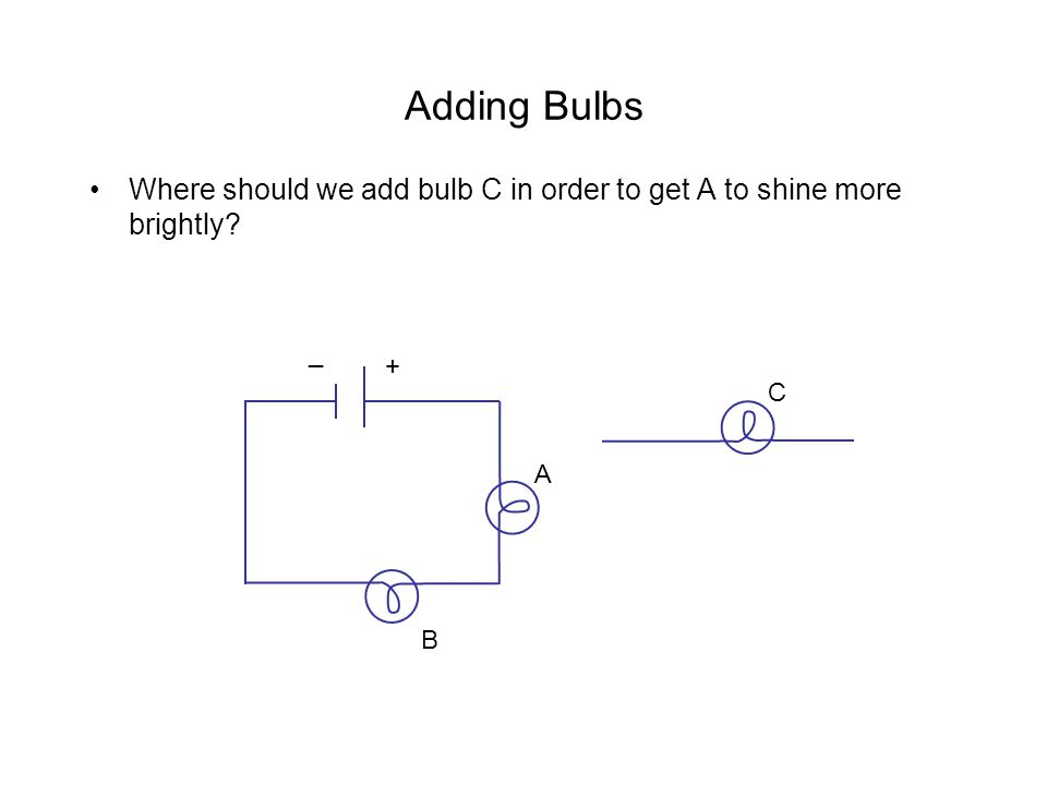 Adding Bulbs Where should we add bulb C in order to get A to shine more brightly _ + C A B