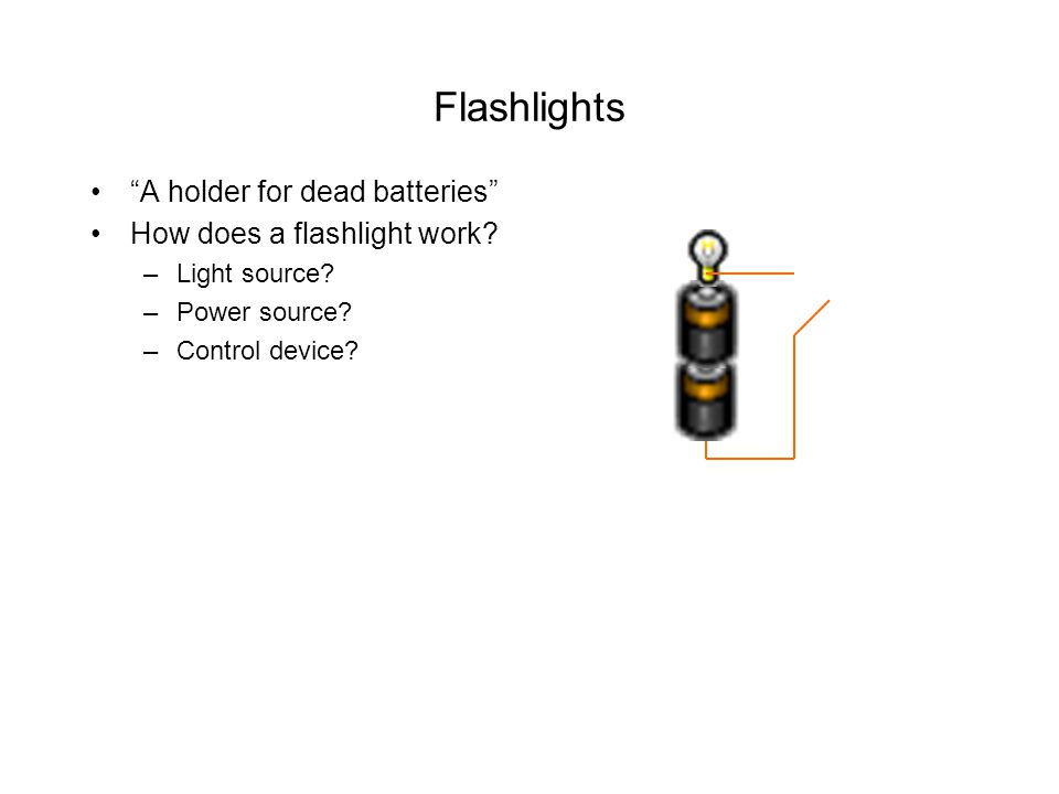 Flashlights A holder for dead batteries How does a flashlight work