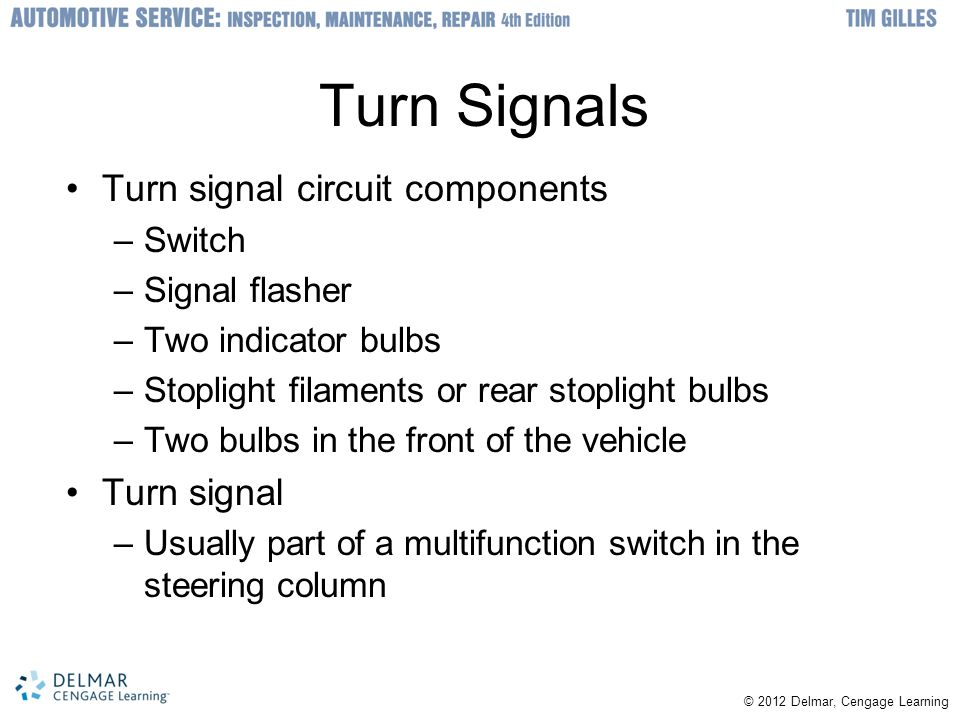 Turn Signals Turn signal circuit components Turn signal Switch