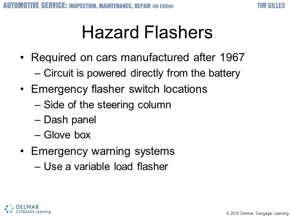 Hazard Flashers Required on cars manufactured after 1967
