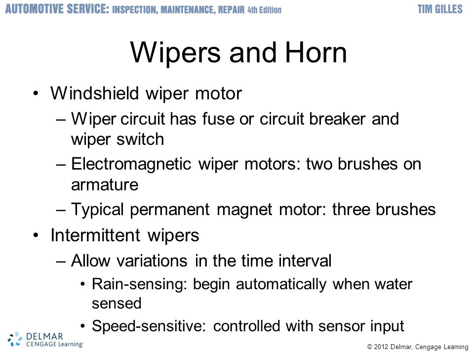 Wipers and Horn Windshield wiper motor Intermittent wipers
