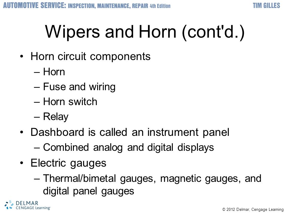 Wipers and Horn (cont d.)