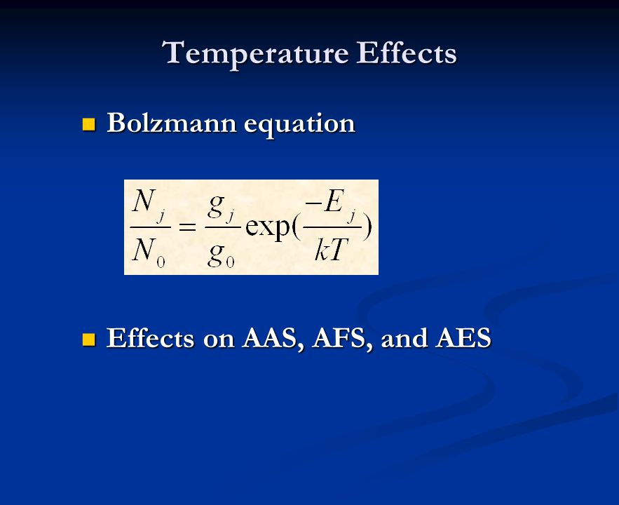 Temperature Effects Bolzmann equation Effects on AAS, AFS, and AES