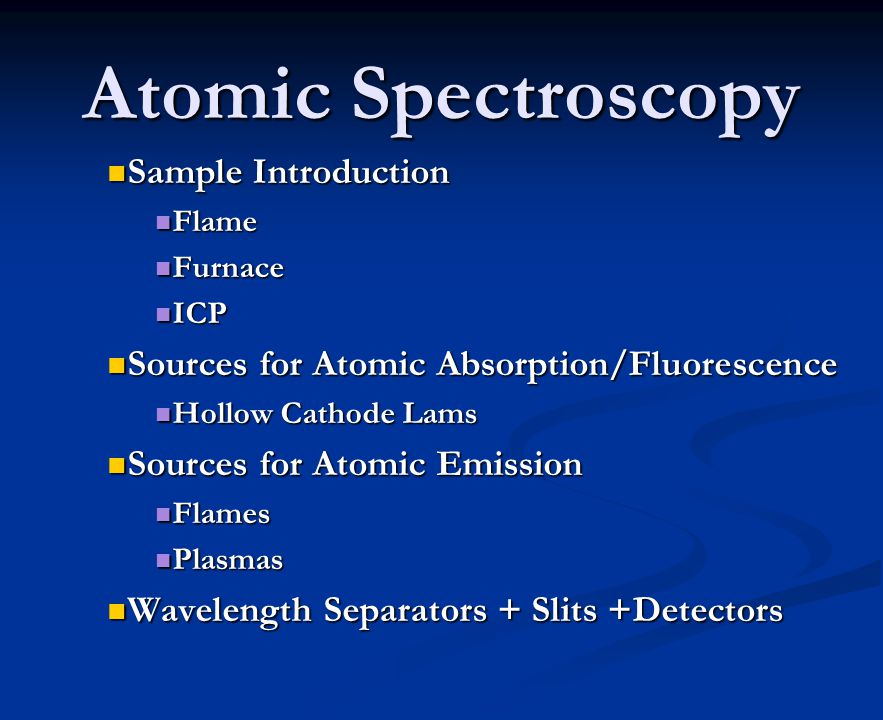 Atomic Spectroscopy Sample Introduction