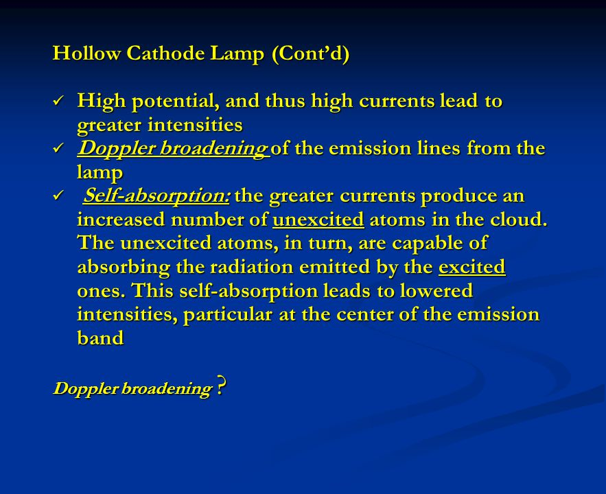 Hollow Cathode Lamp (Cont'd)