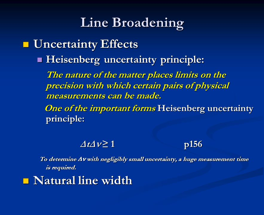 Line Broadening Uncertainty Effects Natural line width