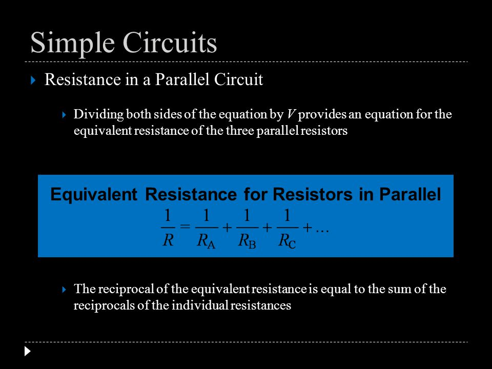 Equivalent Resistance for Resistors in Parallel