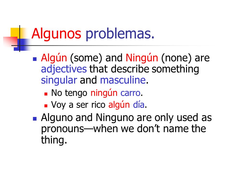 Algunos problemas.Algún (some) and Ningún (none) are adjectives that describe something singular and masculine.
